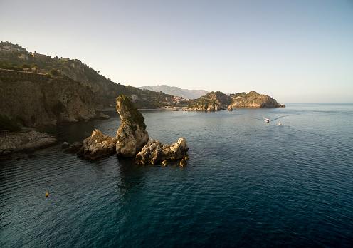 Aerial view of Faraglioni rocks in Capri island, Italy