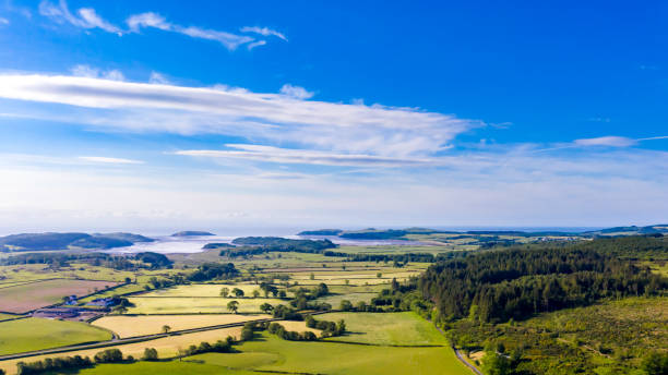 Aerial view of farmland and forest Dumfries and Galloway in south west Scotland A panoramic image produced by merging three images. The images were captured by a drone. A view of the rural landscape with the coast in the background of Dumfries and Galloway in south west Scotland. johnfscott stock pictures, royalty-free photos & images