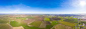 An aerial view of farmland in California's central valley