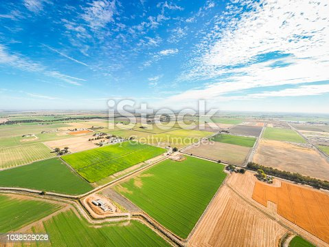 Aerial view of farmland in the heartland of California.