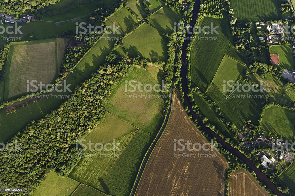 Aerial view of farms fields summer landscape stock photo