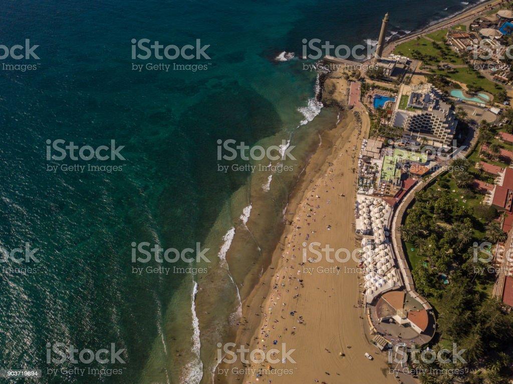 Aerial view of Faro De Maspalomas, Maspalomas, Gran Canaria, Spain. royalty-free stock photo