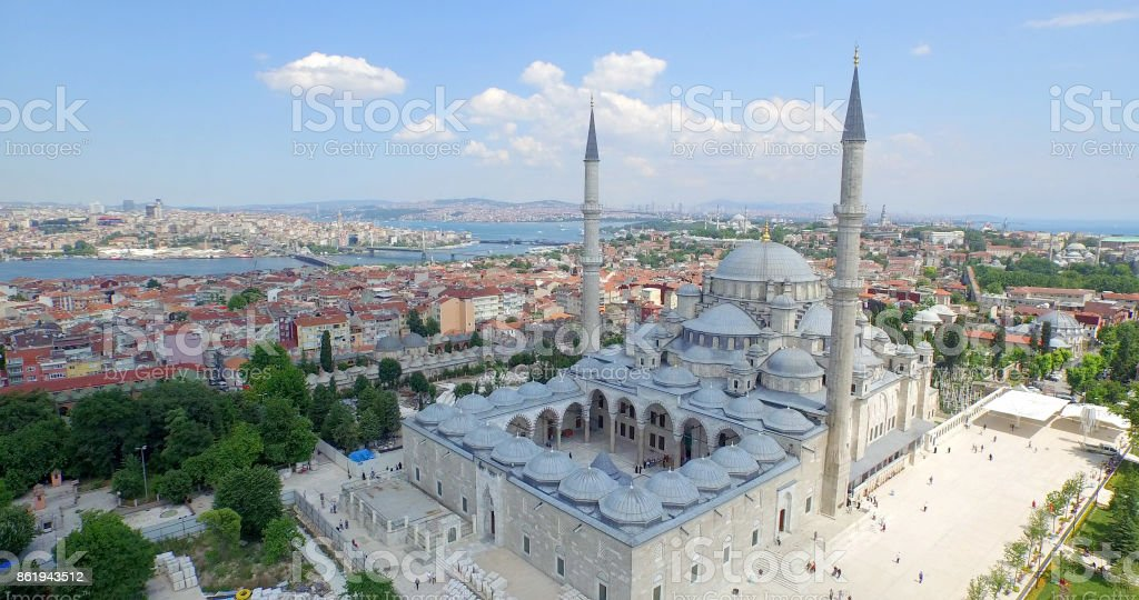 Aerial view of Fatih Mosque in Istanbul stock photo