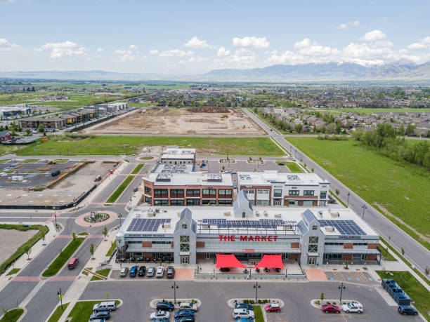 Aerial View of Ferguson Farm Development in Bozeman Montana stock photo