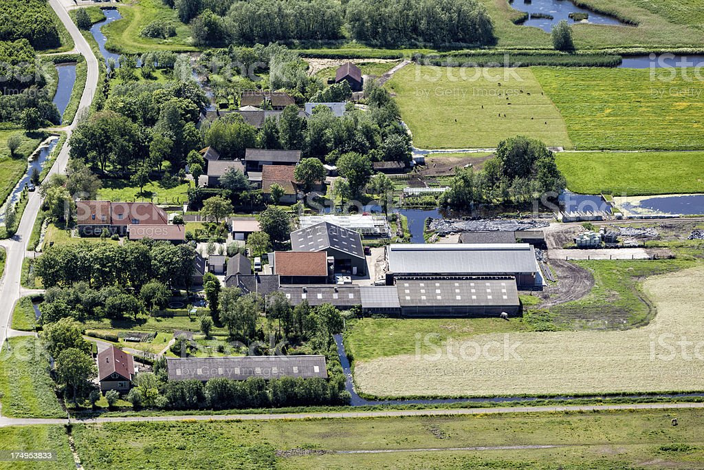 Aerial view of fields and farms royalty-free stock photo