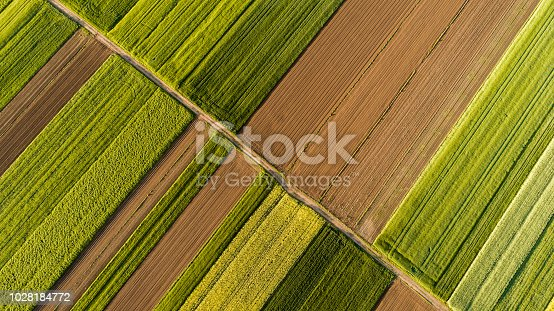 Scenic landscape with aerial view of fields
