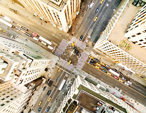 Aerial view of fifth avenue,New York