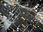 Aerial view of fifth avenue snowing
