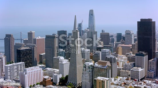 Aerial view of the Financial District of San Francisco in California, USA.