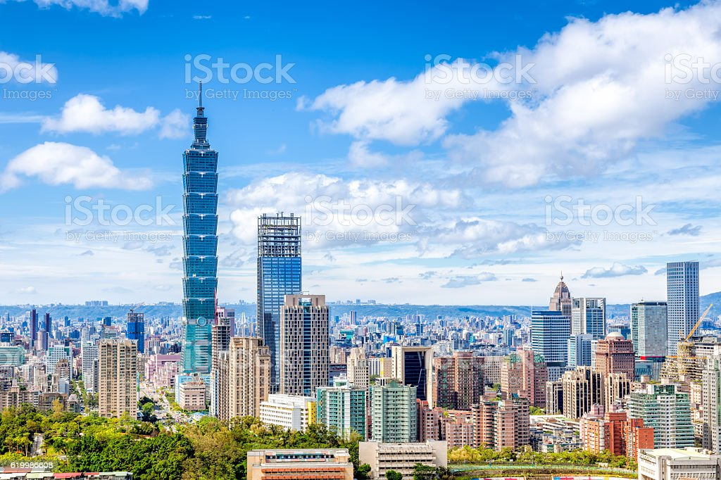 Aerial view of Financial district in Taipei , Taiwan stock photo