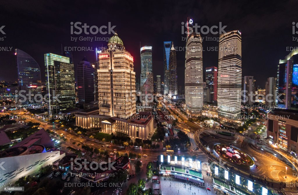 Aerial view of financial district of Shanghai, China at night stock photo