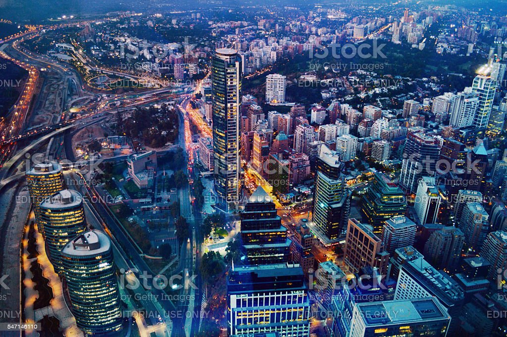 Santiago, Chile - March, 2016: Aerial View of Financial District stock photo