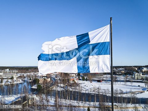 Aerial view of Finnish flag on the tower of Town Hall in Joensuu