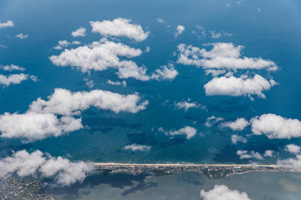 Aerial view of Fire Island in New York through airplane window stock photo