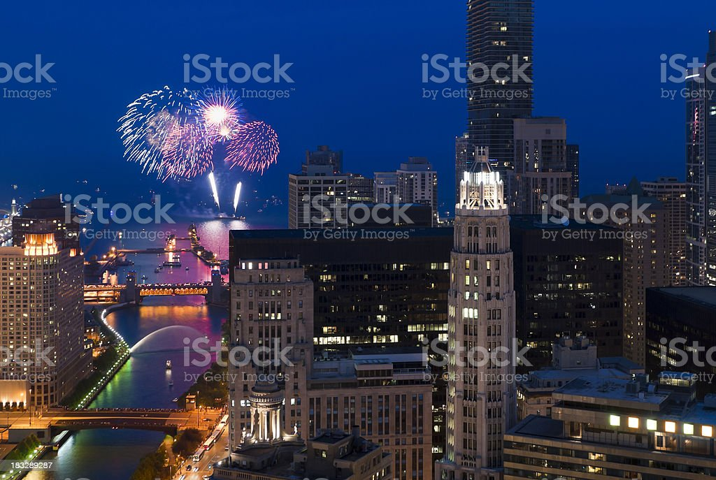 Aerial View of Fireworks Over Chicago at Dusk royalty-free stock photo