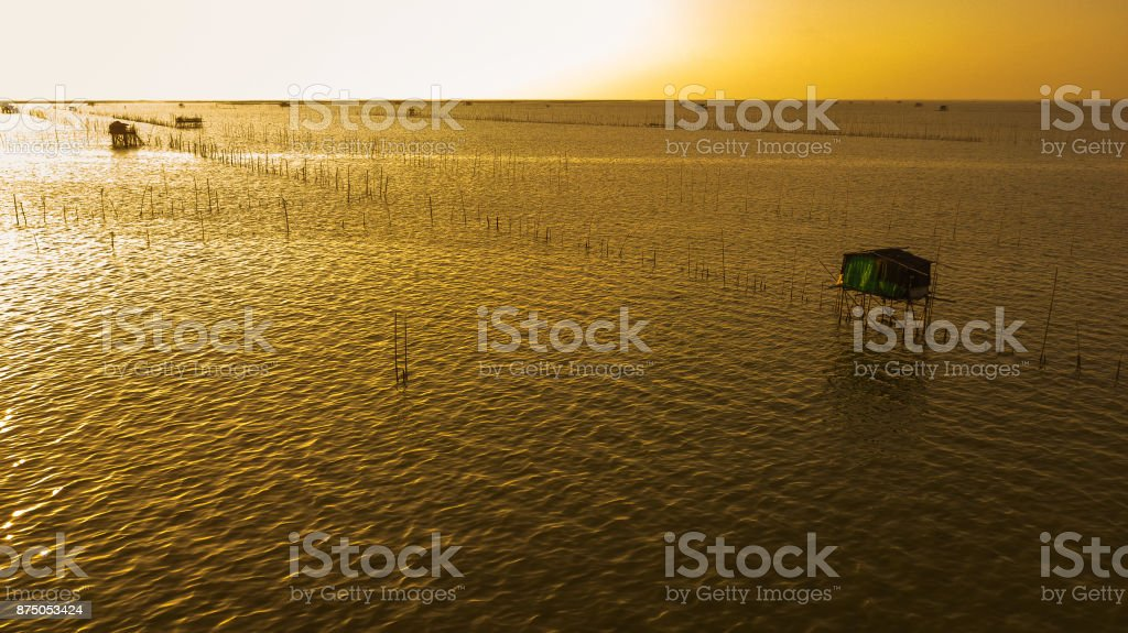 Aerial view of Fisherman's house in twilight time  ,  Thailand stock photo
