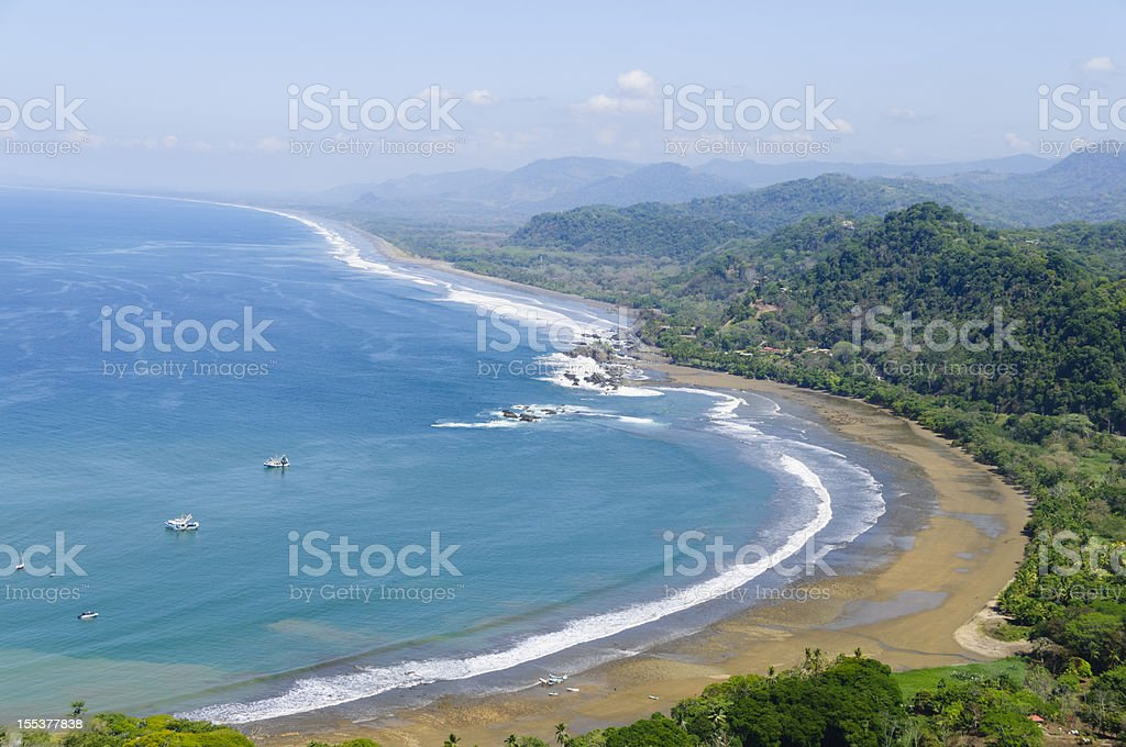 Aerial view of fishing boats and coastline. Dominical, Costa Rica royalty-free stock photo