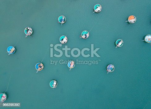 istock Aerial view of fishing harbour from drone 966395392