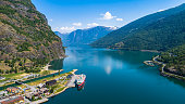 Aerial view of Flam village. Norway.
