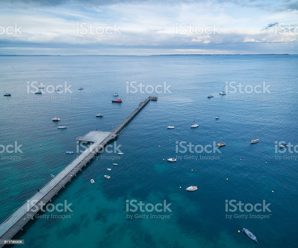 Aerial view of Flinders pier with moored boats. Melbourne, Austr stock photo