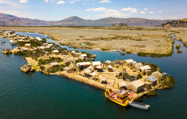 Aerial view of floating islands at Lake Titicaca