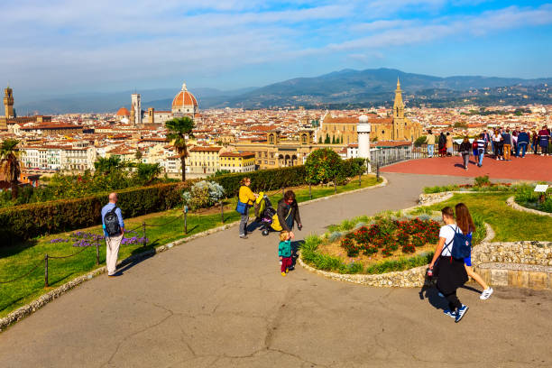 Aerial view of Florence, Italy with Duomo stock photo