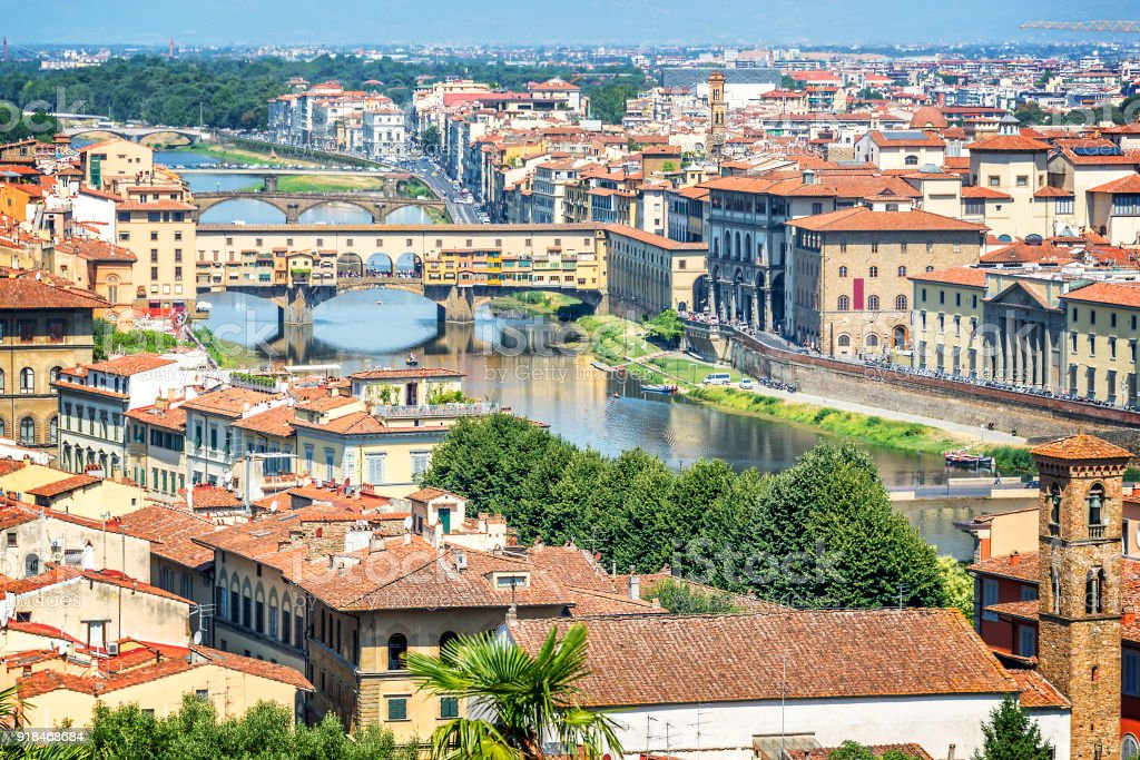 Aerial view of Florence with the Ponte Vecchio and the Arno river, Tuscany, Italy stock photo