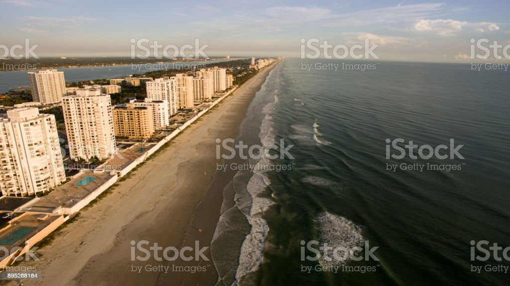 Aerial view of Florida beach during sunrise stock photo