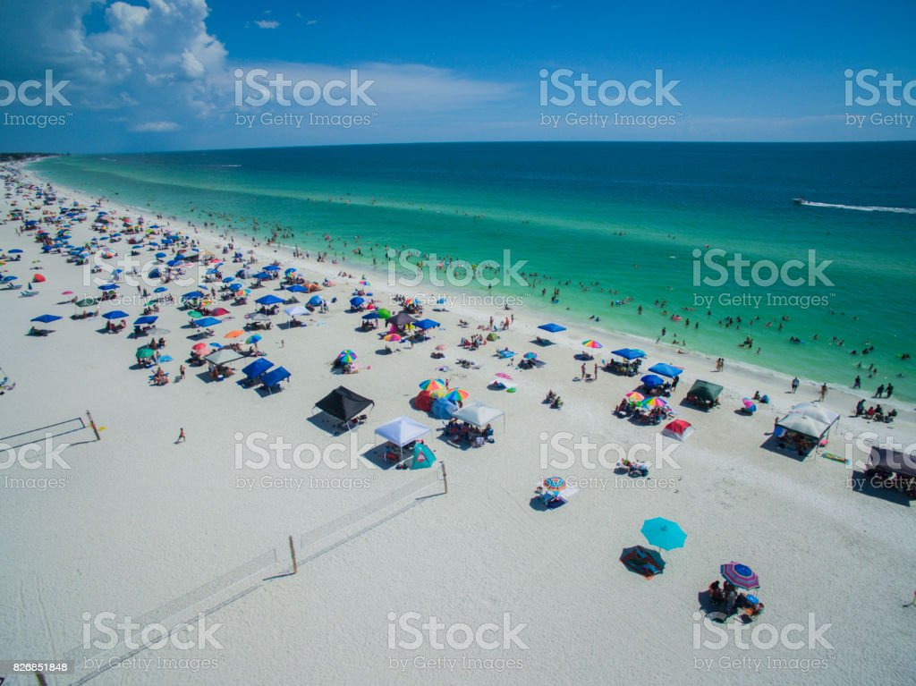 Aerial view of Florida Beach in Summer stock photo