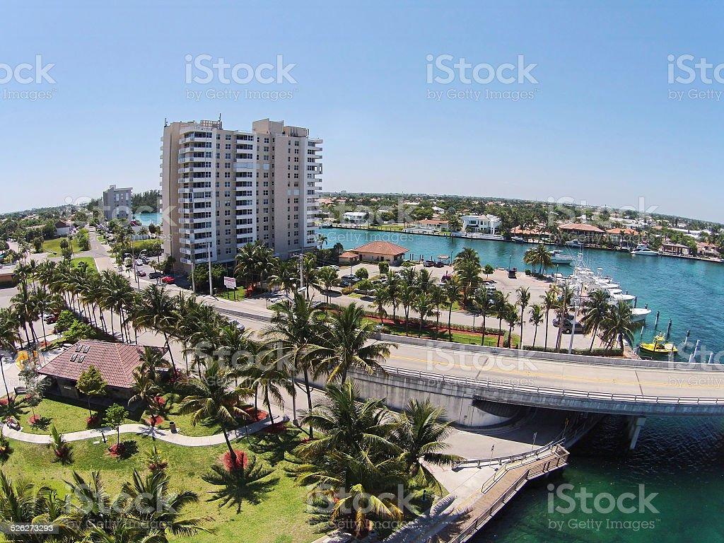 Aerial view of Florida coastline stock photo