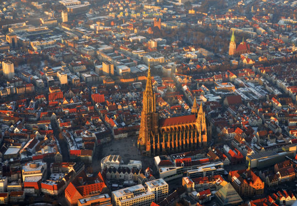 Aerial view  of foggy Ulm, south germany on a sunny winter day Aerial view of Germany ulm minster stock pictures, royalty-free photos & images