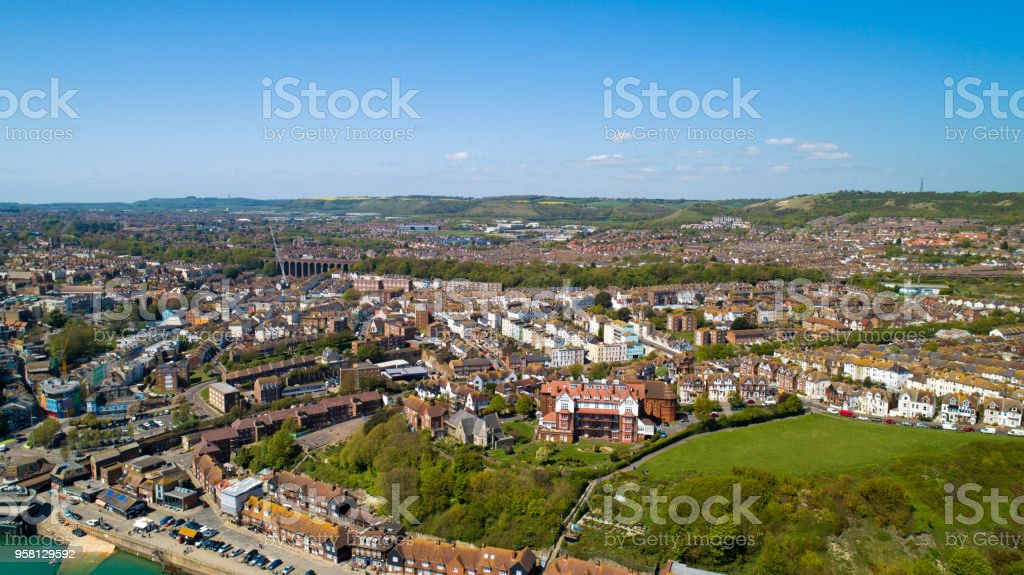Aerial view of Folkestone city stock photo