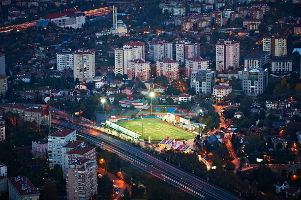 Aerial view of football field in Istanbul stock photo