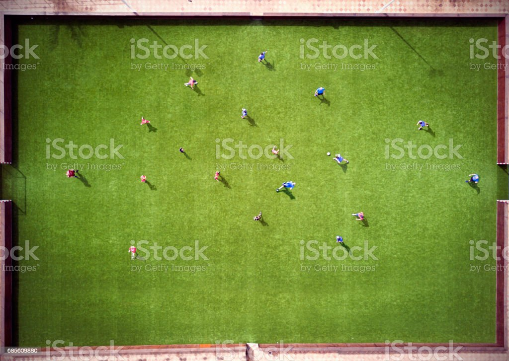 Aerial view of football match stock photo