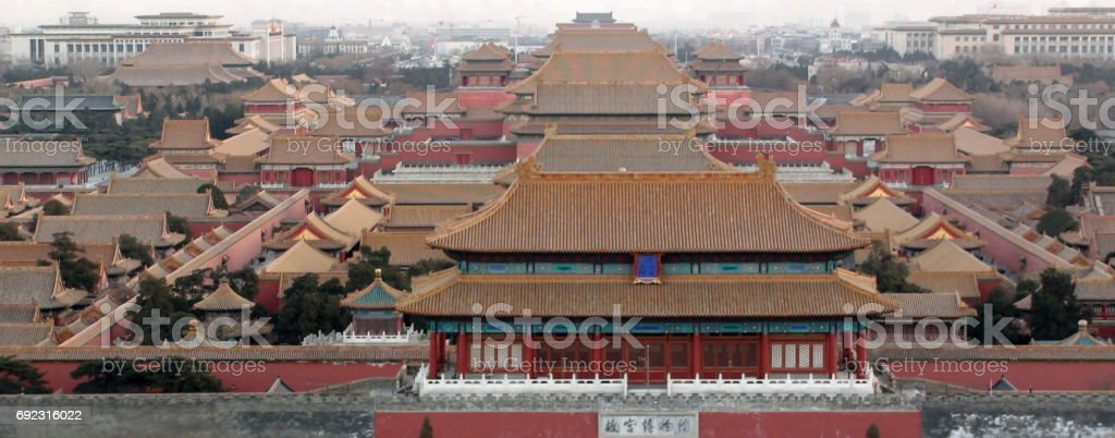 Aerial View Of Forbidden City In Beijing China.East Asia stock photo