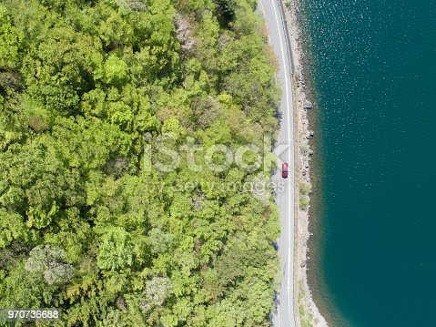 820775686 istock photo Aerial view of forest and sea 970736688