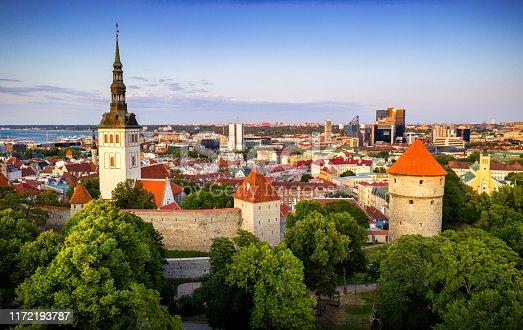 aerial view of Former Prison Tower Neitsitorn In Old Tallinn. Medieval Maiden Tower. Estonia