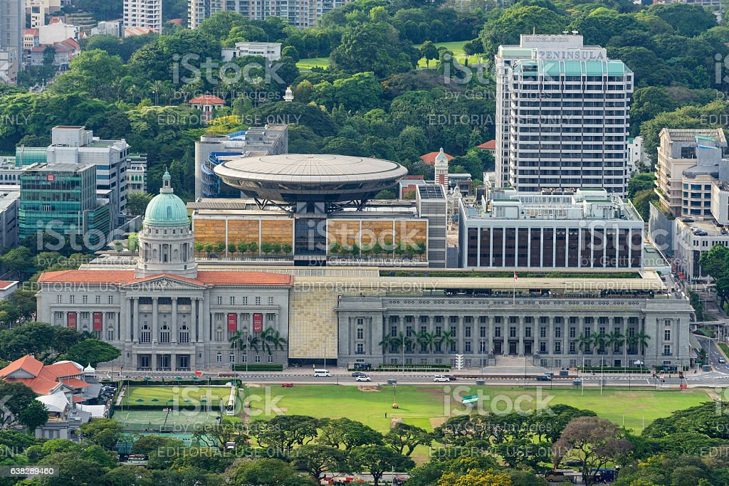 Aerial view of Formerly the Supreme Court Building in Singapore stock photo