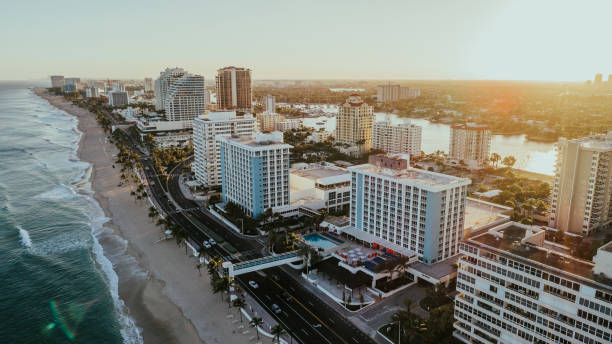 Aerial View of Fort Lauderdale Beach Florida stock photo