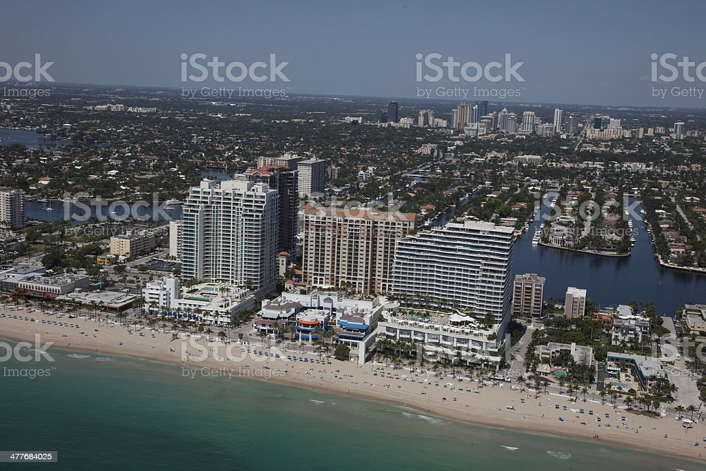 Aerial View of Fort Lauderdale Beach royalty-free stock photo