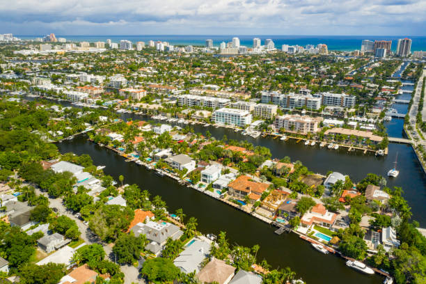 Aerial view of Fort Lauderdale Florida Las Olas Isles upscale single family homes