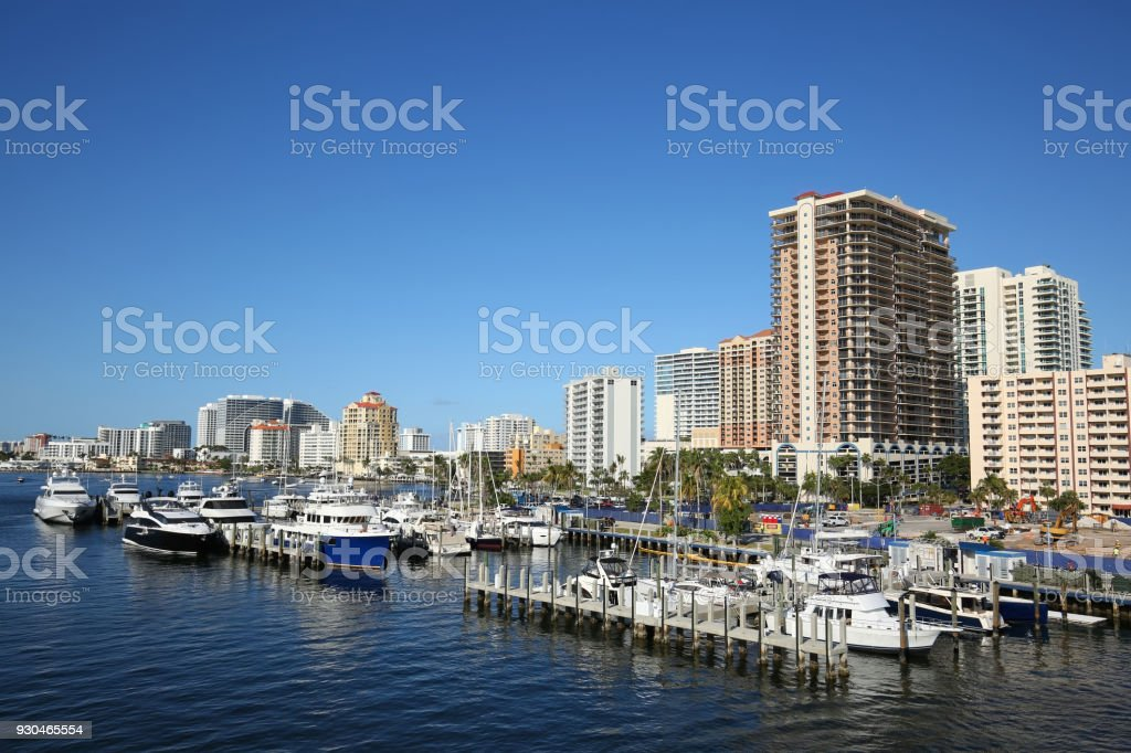 Aerial view of Fort Lauderdale skyline stock photo