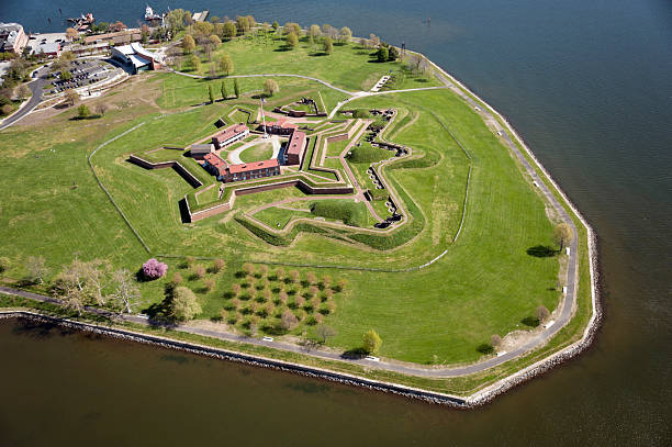 Aerial View of Fort McHenry National Monument stock photo