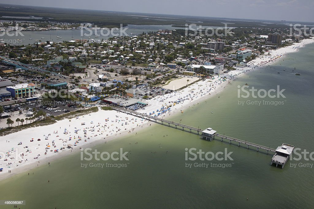Aerial View of Fort Myers Pier stock photo