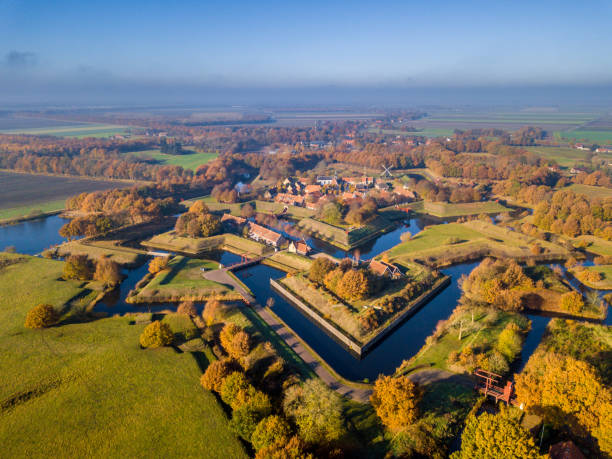 Aerial view of Fortification village of Bourtange stock photo