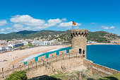 istock Aerial view of Fortress Vila Vella and Badia de Tossa bay at summer in Tossa de Mar on Costa Brava, Catalonia, Spain 1158622684