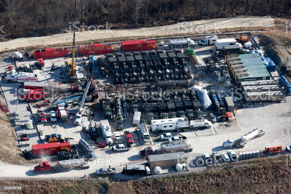 Aerial view of fracing a gas well stock photo