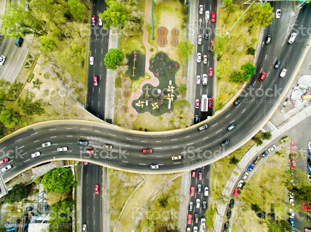 Aerial view of freeways in Mexico stock photo