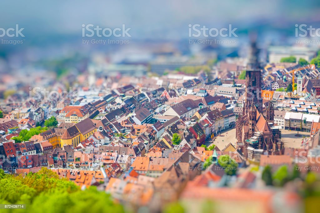 Aerial view of Freiburg im Breisgau, Germany. Tilt-shift Miniature Effect stock photo