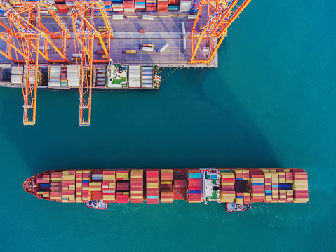 Aerial view of freight ship with cargo containers in Istanbul